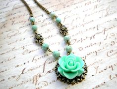 Turquoise Green Flower Necklace Bridesmaid Necklace Pendant Necklace