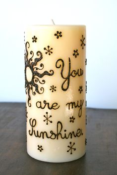 You Are My Sunshine Henna Candle  Have a friend thats hard to buy a gift for? Everyone likes candles! This Henna Candle has been decorated with a