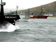 The Time Bandit Northwestern and the Seabrook leaving Dutch Harbor to go king crab fishing.