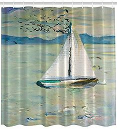Amazon.com: Art Shower Curtain Impressionist Art Prints Oil Paintings Decor by Ambesonne, Monet Sailing Boat Yacht with Birds Watercolor Brushstroke for Modern Bath Design Ocean and Sea View, Blue Teal White: Home & Kitchen #sailingyacht