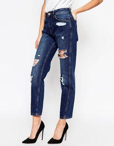 ASOS | ASOS Original Mom Jeans in Dark Wash with Rips at ASOS