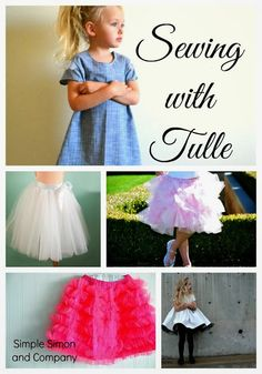 6 Different sewing projects that will show you step by stepp how to add tulle to a variety of little girls clothing! Satin and Tulle Skirt Tutorial - Simple Simon and Company