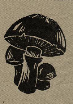 mushrooms, simple print, lino cut, printmaking