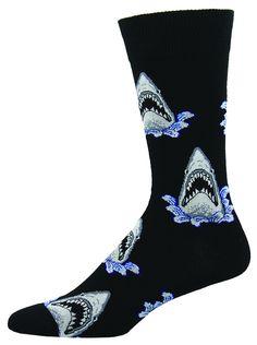 Shark Attack Socks Men's Crew Sock Shark Socks, Men's Socks, Cool Socks For Men, Crazy Socks, Novelty Socks, Mens Fashion, Fashion Trends, Black Shoes, Champagne Corks