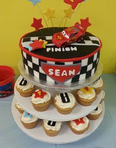 Cars birthday cake & cupcakes by sweettreatdesigns.com