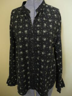 So cute!  Women's Ralph Lauren Jeans Company Prairie Black Cream Print Shirt Top w/ Hook & Eye Closures up the front size M to L