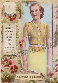 Vintage 1930s Knitting Pattern Lady's Spring Jumper Short/ Long Sleeves 1940s | eBay