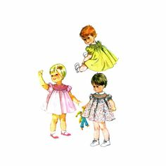 1960s Toddler Girls Smocked Dress McCalls 7842 Vintage Sewing Pattern