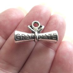 6 GRADUATE Charms Antique Silver Tone Diploma by JWRSupply on Etsy