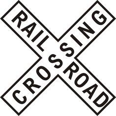 Railroad Crossing Cross Sign Train Rail Cross Locomotive Steam Engine