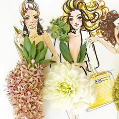 [NC comment: like the white here!] fleurs for days . . . #SomeFlowerGirls #floral #fashionistas à #nyfw