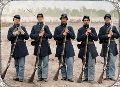 Five soldiers, four unidentified, in Union uniforms of the 6th ...