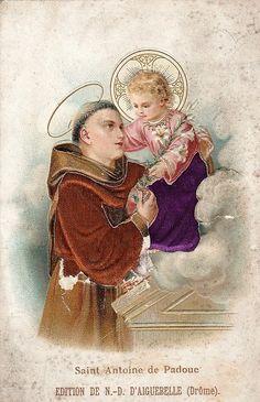 Catholic Art, Catholic Saints, Roman Catholic, Religious Art, Oracion A San Antonio, Saint Anthony Of Padua, Man And Dog, Orisha, Christian Art