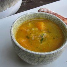 Winter Squash Soup with Pancetta, Leeks, & Green Garlic