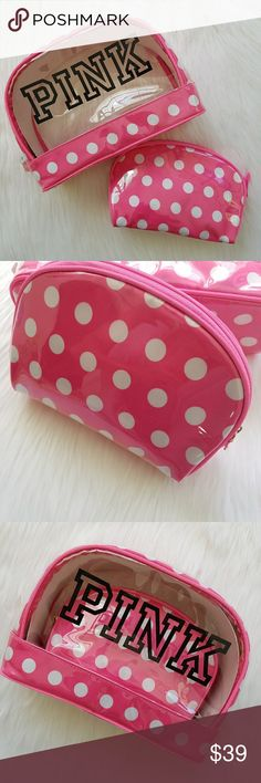 Victoria's Secret PINK Makeup Case Set 2 Bags Rare Victorias Secret PINK Cosmetic Bag Set  Matching set of 2 Brand new with tag  Polka dot print covered in clear plastic Zip closures Of course these are NOT just for makeup! Room decor, feminine supplies, organizers, storage, pencil cases -- use them for whatever you need :) PINK Victoria's Secret Bags Cosmetic Bags & Cases