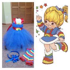 Rainbow bright costume, baby girls home made halloween costume. Using no sew tutu dress method.