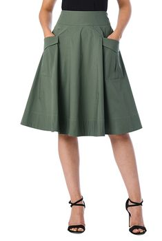 Cargo pocket cotton poplin skirt #eShakti