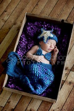 As precious as it is well-crafted, this three-piece, crocheted mermaid set--complete with an exquisite starfish hat--will not only make a stunning photography prop, but would also make baby a contender for any reputable costume contest! Also ideal as a shower gift and keepsake.
