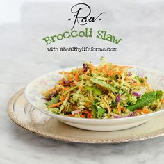Raw Broccoli Slaw - A Healthy Life For Me  Make this broccoli slaw for your 4th of July picnic.http://ahealthylifeforme.com/raw-broccoli-slaw/#comment-150253