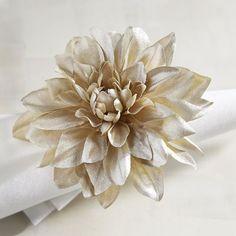 Champagne Dahlia Flower Napkin Ring