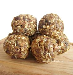 Healthy Oatmeal Energy Bites recipe.... I LUV THESE!!! 1 cup (dry) oatmeal (I used old-fashioned oats)  2/3 cup toasted coconut flakes  1/2 cup peanut butter  1/2 cup ground flaxseed or wheat germ  1/2 cup chocolate chips or cacao nibs (optional)  1/3 cup honey or maple syrup  1 Tbsp. chia seeds (optional)  1 tsp. vanilla extract