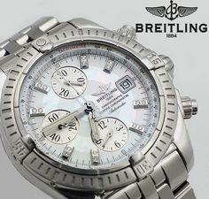 Stainless Steel Breitling Chronomat Evolution w/ MOP diamond dial $3990.00 #Breitling #Chronomat #Evolution #MotherofPearl #Diamond #Swiss #Luxury #Collector #Watchlink