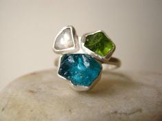 Trio Birthstone Ring, Choose Your Rough stones - Sterling Silver - Unique Mother and Children's Ring - Made for You and Your other parts on Etsy, $258.00