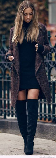 Beautiful outfit with boots, dress and coat, love her hair too