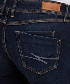 Skinny dew 5 pocket skinny jeans low rise slim fit through hip and thigh dark stone wash triple contrast topstitch detail cotton, polyester, spandex Variations Estilo Denim, Fashion Vocabulary, Denim Jeans Men, Bermuda, Mens Clothing Styles, Denim Fashion, Jeans Style, Skinny Jeans, Andorra