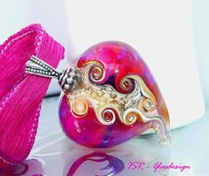 Shocking heart  lampwork heart  made by ISR  by ISRGlasdesign, $42.00