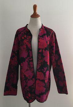 0127c142625 New Women s Plus Size Black Floral Print Open Light Jacket Size 1X 3X 4X  USA
