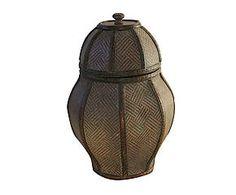 Vaso contenitore in legno effetto tessuto Vienna - h 38 cm