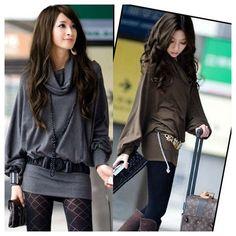 Nova mulher moda de manga comprida casual t shirt loose tops blusa decote ruff tamanho s m l cinza café