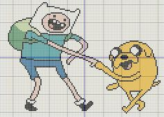Buzy Bobbins: Adventure time with Finn and Jake cross stitch design.