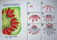 zentangle patterns free   Schmoozy Flower by K Yackel; art - doodles tangle instructions