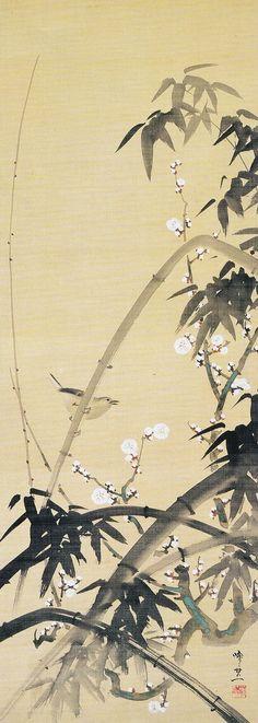 鈴木其一 Suzuki Kiitsu 梅竹に鶯図_plum tree and bush warbler perched on a bamboo. Japanese hanging scroll. Nineteenth century. Late Edo period.