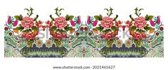 Digital Textile Design Motif Botanical Flower Stock Illustration 2021465627