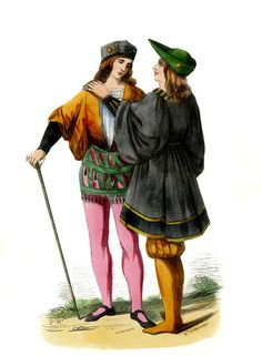 """Young Italian pages - male costume of 15th century"""