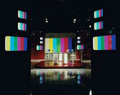 Photographs of empty television studios, with colorbars.