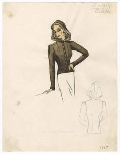 Bergdorf Goodman sketches. Metropolitan Museum of Art, New York. 1930-1950. Costume Institute #casual #classy | All dressed up and ready for work.