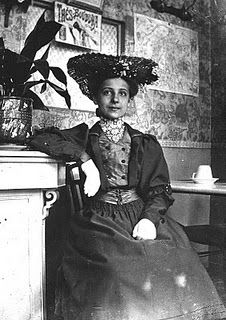 1905 Photograph, woman seated in Paris eatery. I love old photography. I try to make up the person's story...