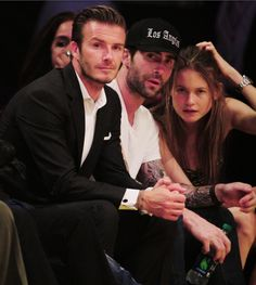 David Beckham, Adam Levine and Behati Prinsloo!! 3 of the most beautiful people in the world just chillin together...where's Posh Spice though?