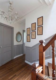 escalier sous bassement gris - Decorer Une Entree Avec Escalier
