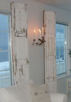 Shabby Chic shutters!!!! kinda creepy lighting/chandelier