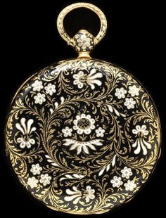 Enamelled Gold Watch - Switzerland Enamelled gold watch decorated with black and white flowers, inscribed with the name of the owner, 'E. Shea' and the date Switzerland, dated Museum Number Antique Watches, Antique Clocks, Vintage Watches, Art Deco Jewelry, Pendant Jewelry, Antique Jewelry, Vintage Jewelry, Apple Watch Fashion, Black And White Flowers