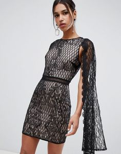 5f3899e57bb Black Lace Chiffon Frill Detail Bodycon Dress