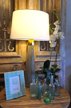Gold Trim Lamp - $325 : Picture Frame - $46 : Orchid - $75 : Sea Glass Bottles from $8-$20 : Antique Doors - $1900