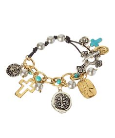 Look at this Two-Tone Multi-Cross Charm Bracelet on #zulily today!