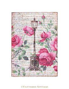 tattered vintage   ... Lamppost Art Card Antique Wallpaper Collage Sheet…