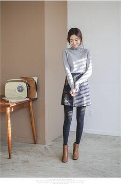 Leaf Twisted Turtleneck Knit | Korean Fashion